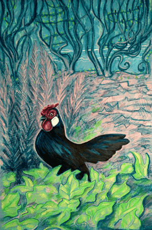 Rosecomb Bantam Rooster in the Sweet Potato Vine