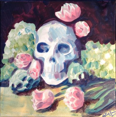 Skull with Artichokes and Tulips